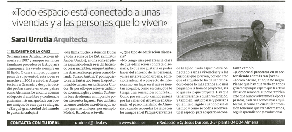 Entrevista en Ideal / Interview in local newspaper
